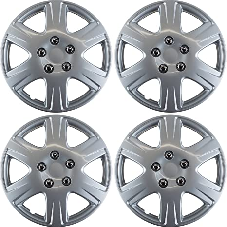 15 inch Hubcaps Best for 2005-2008 Toyota Corolla - (Set of 4) Wheel Covers 15in Hub Caps Silver Rim Cover - Car Accessories for 15 inch Wheels - Snap On ...
