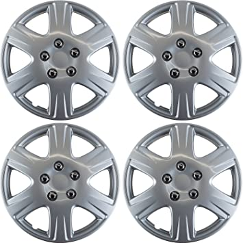 15 inch Hubcaps Best for 2005-2008 Toyota Corolla - (Set of 4) Wheel Covers 15in Hub Caps Silver Rim Cover - Car Accessories for 15 inch Wheels - Snap ...