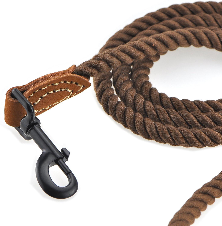 Correa de cuerda trenzada de algod/ón con asa de cuero y cierre resistente de metal resistente azul marino, 4 pies Mile High Life