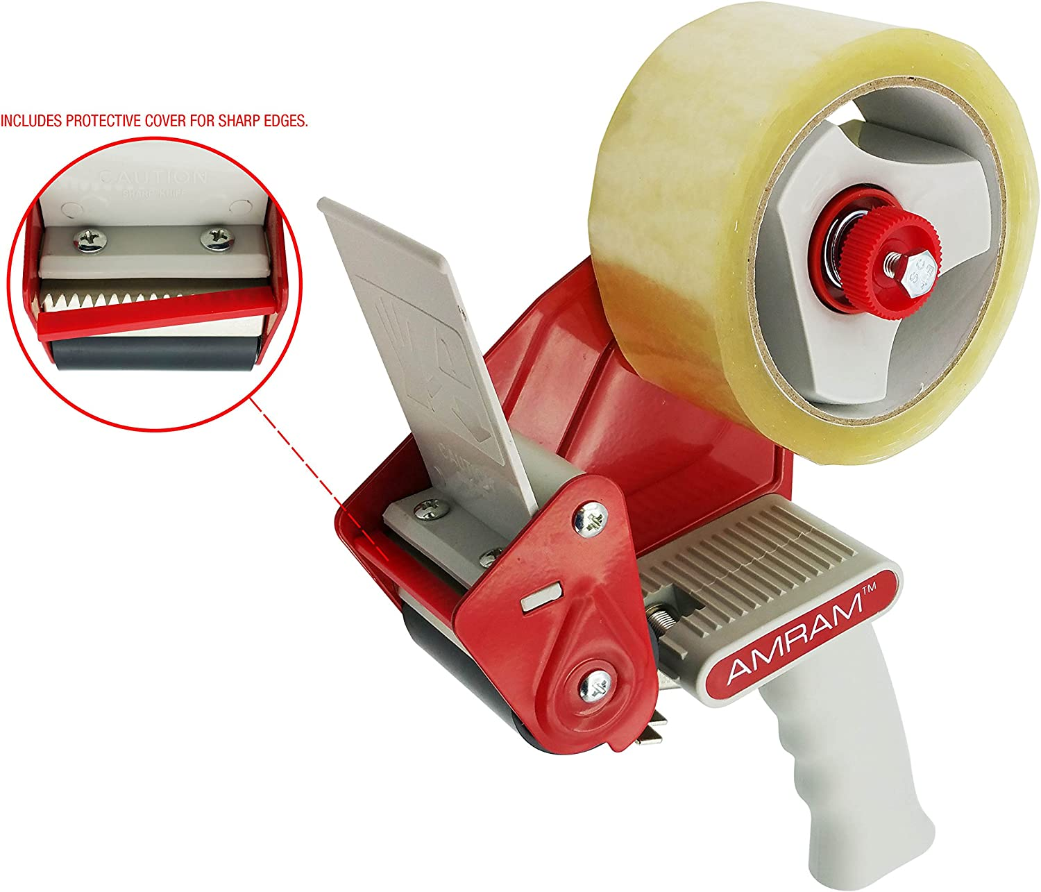 Premium Quality//Industrial Strength 3 Core Amram Packing Tape Dispenser Gun 2 Width Includes 1 Roll of Clear Packing Tape 1.88 x 54 yds