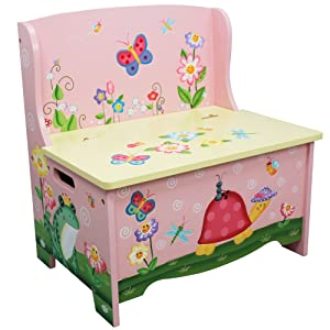 Fantasy Fields - Magic Garden Thematic Kids Storage Bench| Imagination Inspiring Hand Crafted & Hand Painted Details | Non-Toxic, Lead Free Water-based Paint