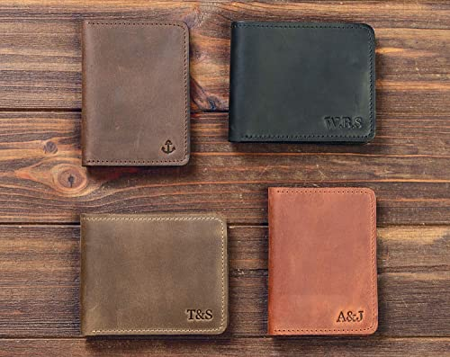 Personalized Monogrammed Brown Leather Bifold Mens Wallet w// Coin Compartment