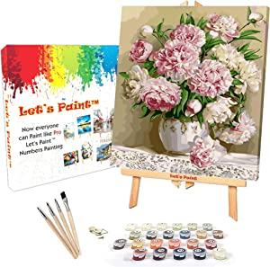 """DIY Paint by Numbers for Adults, Framed Canvas, 16x20"""" Wood Frame, Easel Stand, Acrylic Painting Kit for Adults, Paint by Number for Adults, Beginner to Advanced, Pink Carnations by LET'S PAINT"""