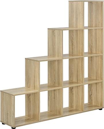 en.casa] Estantería en Forma de Escalera estilosa - Estantería de Almacenamiento con 10 compartimientos - Estantería de pie 138 x 142 x 29cm - Armario - Apariencia de Madera: Amazon.es: Hogar