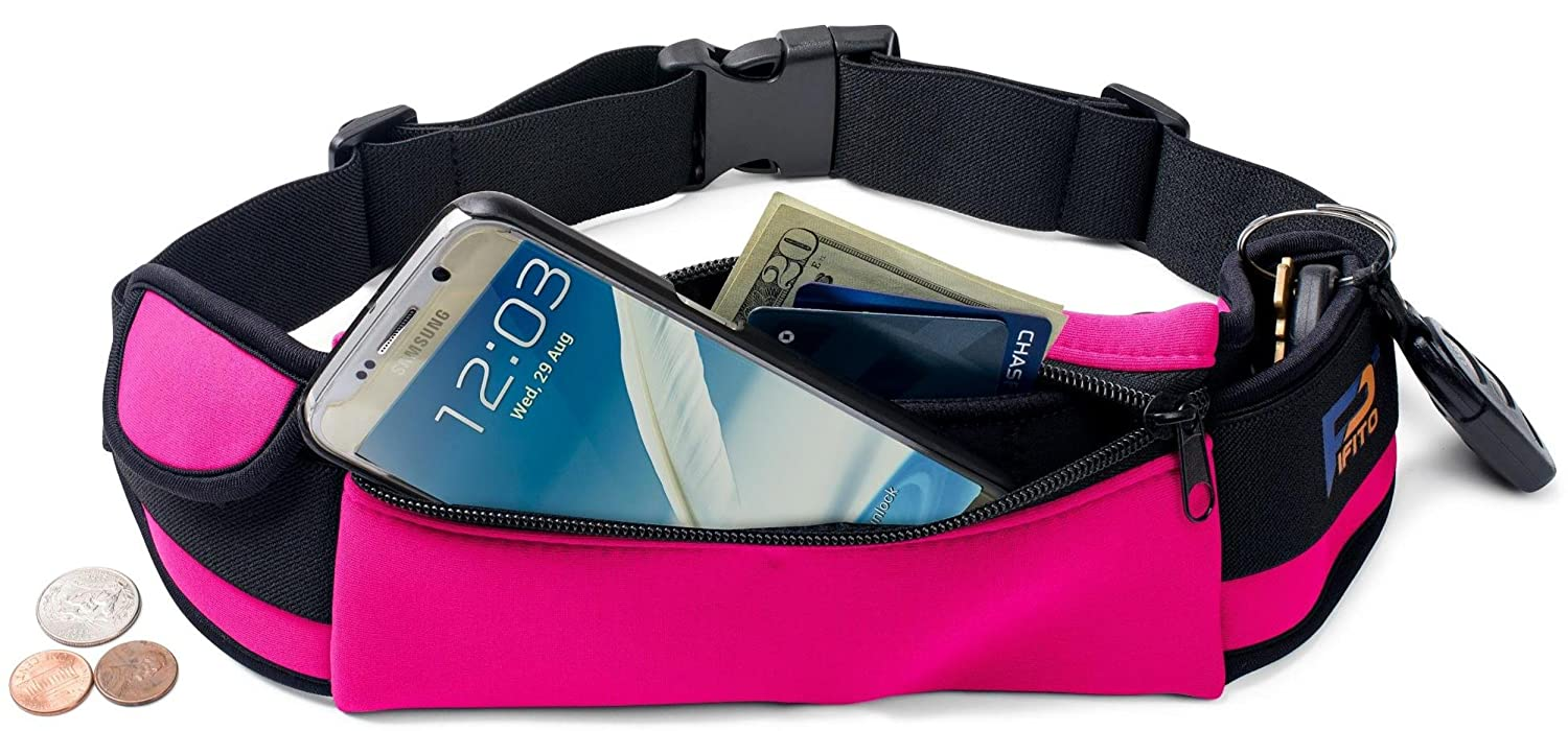 Pifito TM Running Belt – Premium Quality Stylish Waist Pack for iPhone Galaxy – Cozy Ample Space Fanny Pack Pouch Bag for Sports, Exercise, Walking, Jogging and Travel Pink