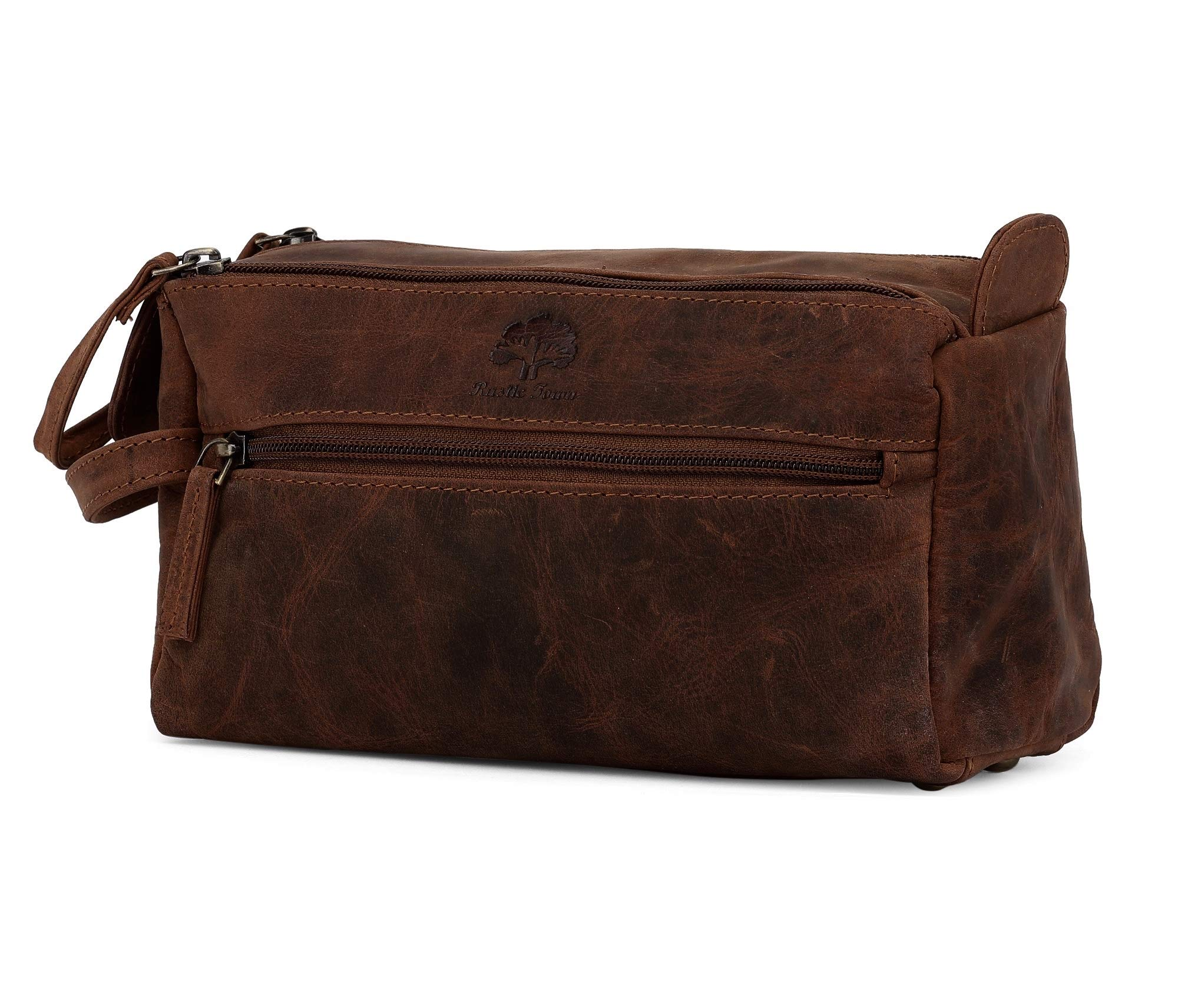 Genuine Leather Travel Toiletry Bag - Hygiene Organizer Dopp Kit By Rustic Town (Dark Brown)
