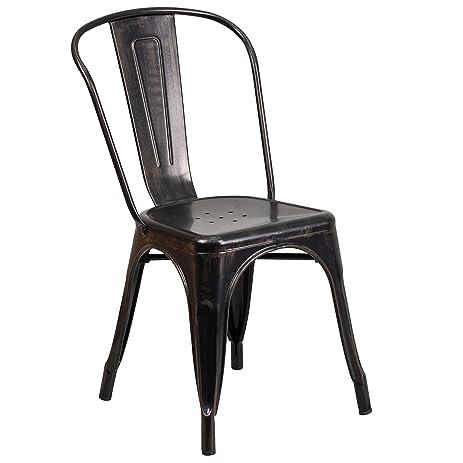 Flash Furniture Black-Antique Gold Metal Indoor-Outdoor Stackable Chair - Amazon.com - Flash Furniture Black-Antique Gold Metal Indoor-Outdoor