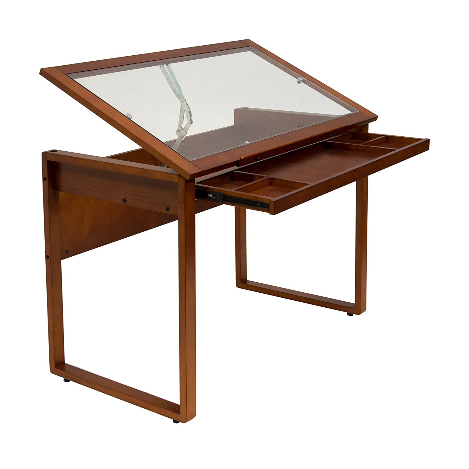 amazoncom studio designs ponderosa glass topped table in sonoma brown arts crafts u0026 sewing