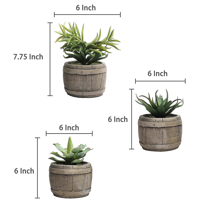 MyGift Assorted Mini Artificial Succulents Plants in Rustic Wood Barrel Design Pots Set of 3 Brown