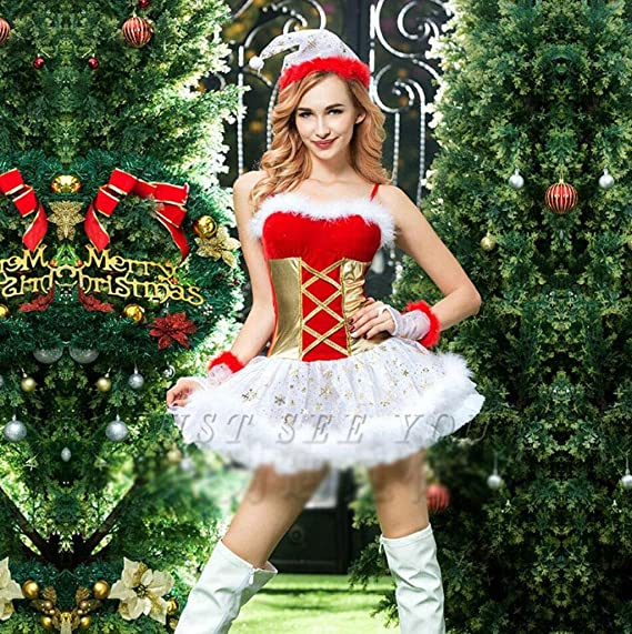 MNII Women s Santa Costume Red Christmas Xmas Cosplay Fancy Dress Outfit  Party Christmas Costume Nightclub Performance Costume  Amazon.co.uk   Clothing 277cc2681c28