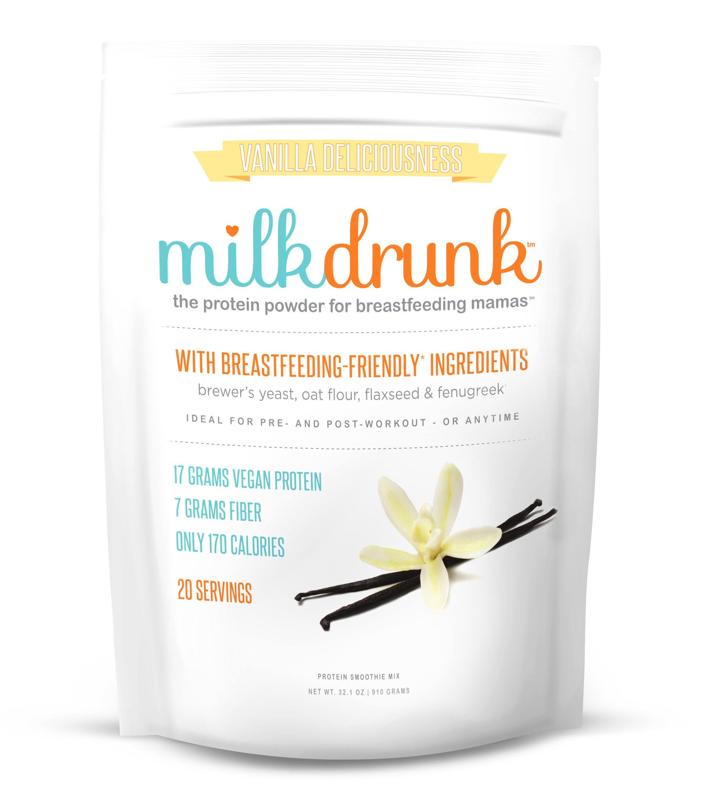 Milk Drunk - Protein Powder for Breastfeeding Mamas - 20 Servings of Vegan Protein & Lactation-Boosting Ingredients - 17g Protein 7g Fiber 5g Sugar - Oat Flour, Flaxseed, Brewer's Yeast & Fenugreek
