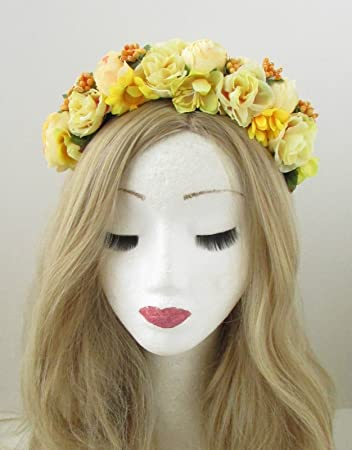 Yellow cream rose flower headband hair crown boho festival garland yellow cream rose flower headband hair crown boho festival garland headpiece 867 exclusively sold by mightylinksfo