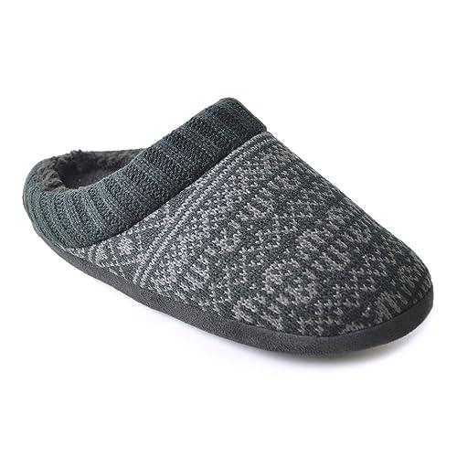 Zapatillas de Estar por casa de Ganchillo Modelo Abiertas Diseño Fairisle para homnbre Caballero (41