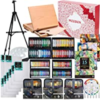 MEEDEN 148-Piece Deluxe Artist Painting Set with Aluminum and Solid Beech Wood Easel, Paint, Stretched Canvas and…