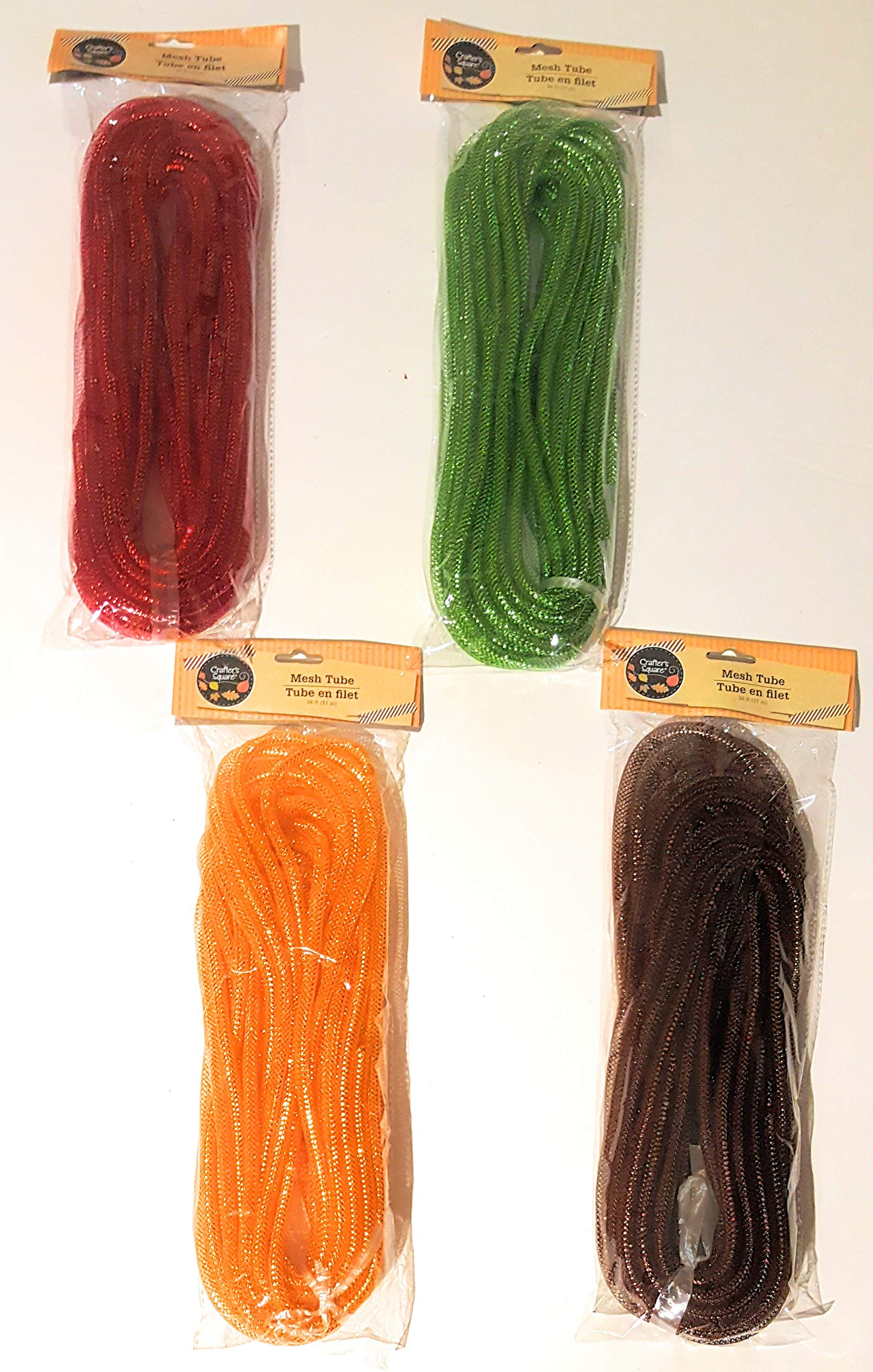 Fall Crafter's Square Set of 4 Autumn Thanksgiving Harvest Holiday Decorative Mesh Tubes, Green Brown Orange Red 12yds. Each