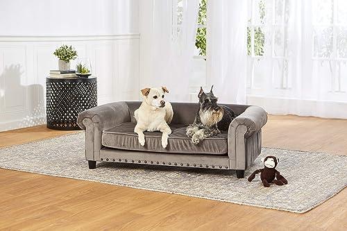 Enchanted Home Pet Grey Velvet Manchester Pet Sofa