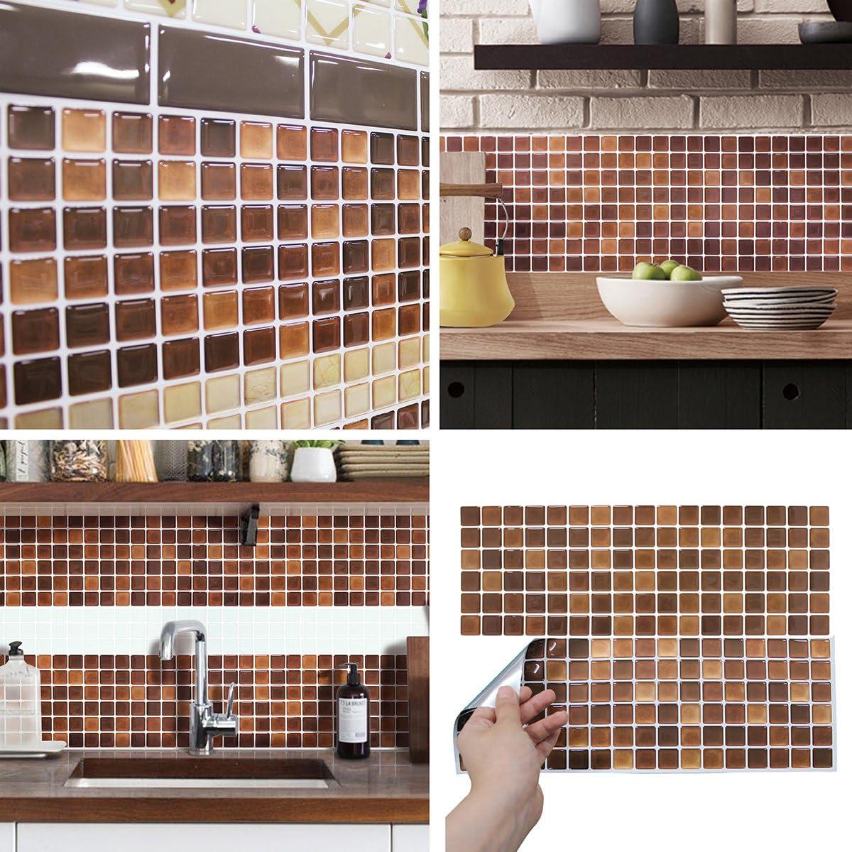 Amazon Com Beaustile Decorative Tile Stickers Peel And Stick Backsplash Fire Retardant Tile Sheet 2 N Brown Home Kitchen