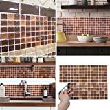 BEAUSTILE Decorative Tile Stickers Peel Stick Backsplash Fire Retardant Tile Sheet (2, N.Brown)