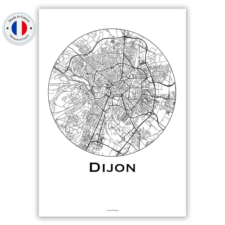 City Map Poster de Dijon Plan de ville Affiche Dijon France Minimalist Map Cr/éation originale