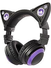 Brookstone Wired Purple Cat Ear Headphones with External Speakers
