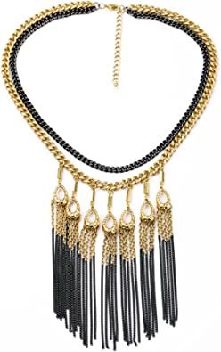 Gold and pearl vintage chain Tassel chain ladies jewelry. Waterfall necklace