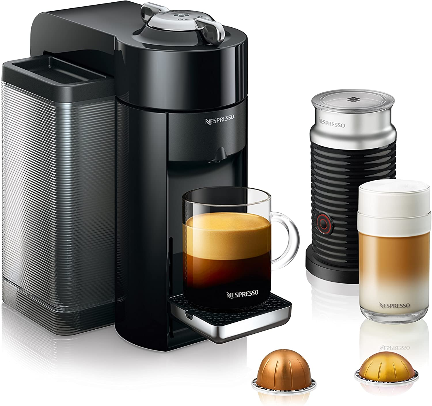 Nespresso by De Longhi ENV135BAE Coffee and Espresso Machine Bundle with Aeroccino Milk Frother by De Longhi, Black