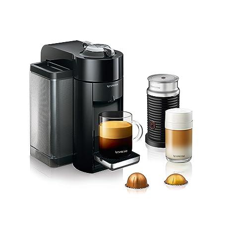 Nespresso ENV135BAE Coffee and Espresso Machine Bundle with Aeroccino Milk Frother by DeLonghi, Black