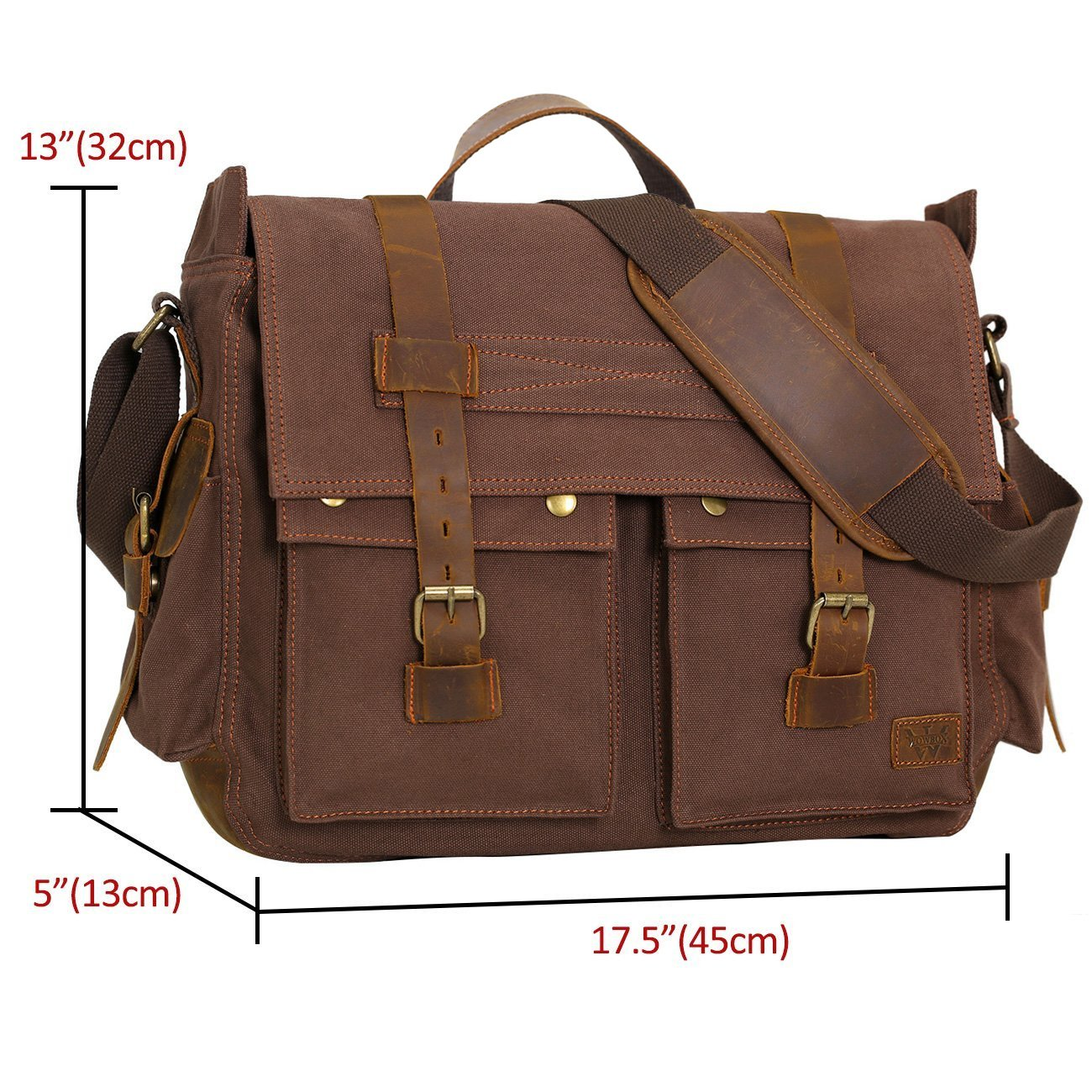 Amazon.com  Wowbox 17.3 Inch Men s Messenger Bag Vintage Canvas Leather  Satchel Laptop Bags Bookbag Working Bag for Men and Women Coffee  Computers    ... be4f002daa