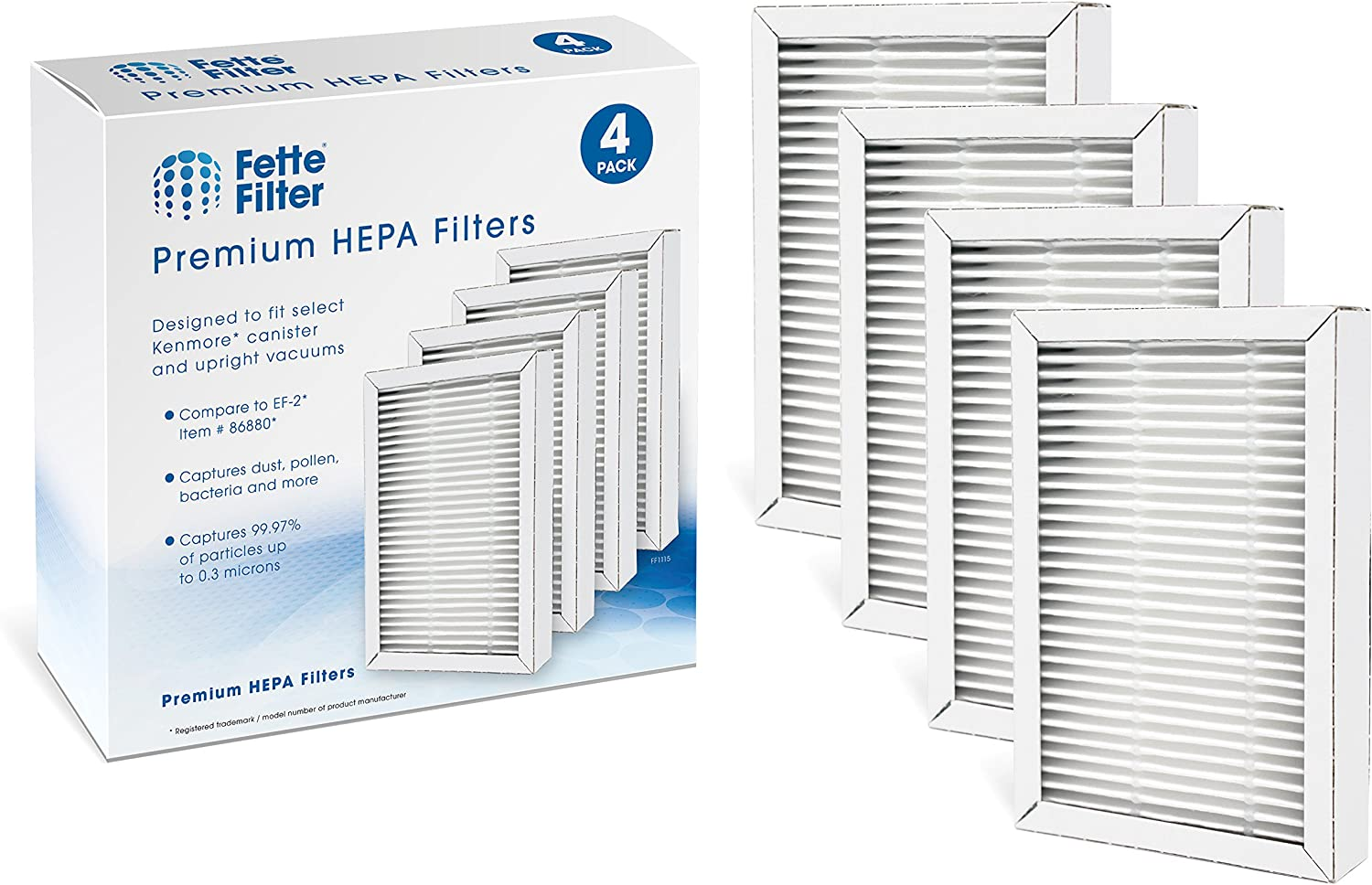 Fette Filter - HEPA Vacuum Filter Compatible with Kenmore Exhaust EF-2 (Compares to 86880) and Also Compatible with Panasonic (Compares to MC-V194H) (Pack of 4)
