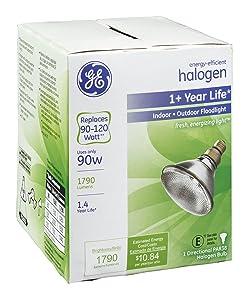 GE Lighting 62706 90 Watt White PAR38 Halogen Flood Light Bulb