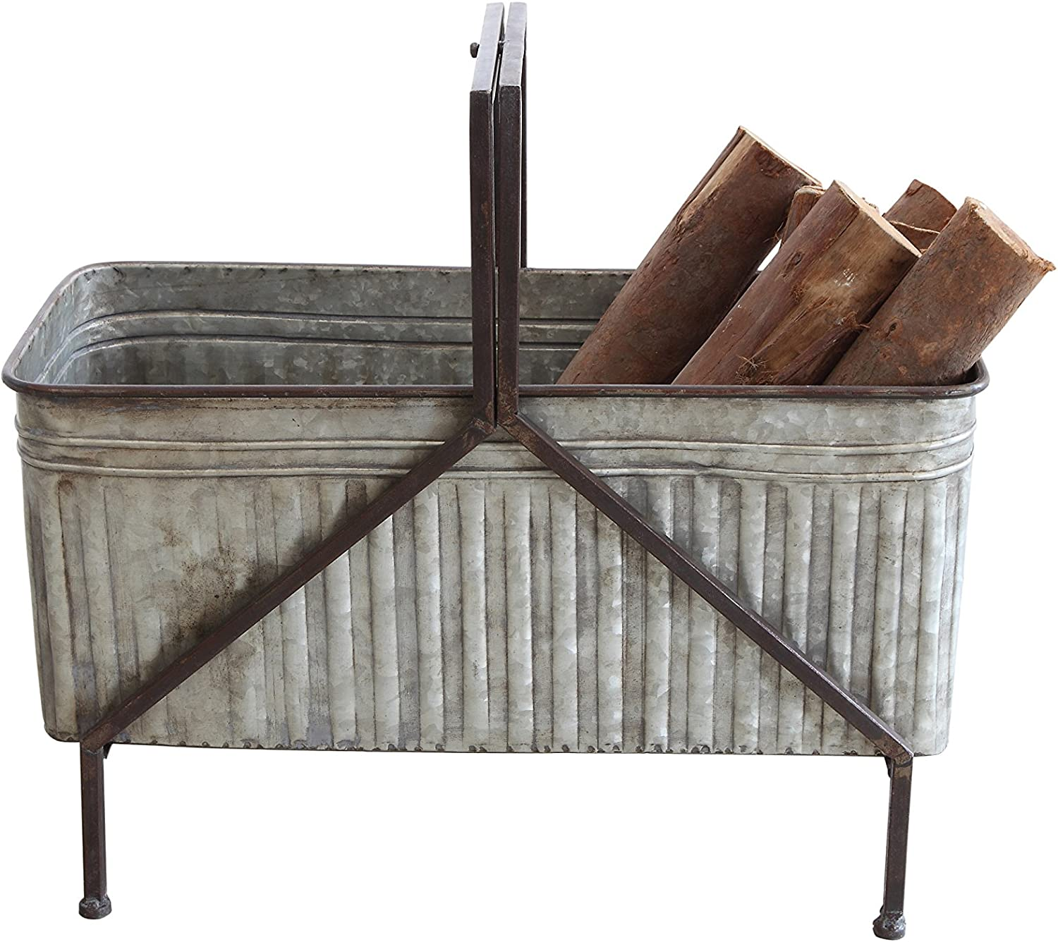 Creative Co-op Iron Bucket Planter on Stand
