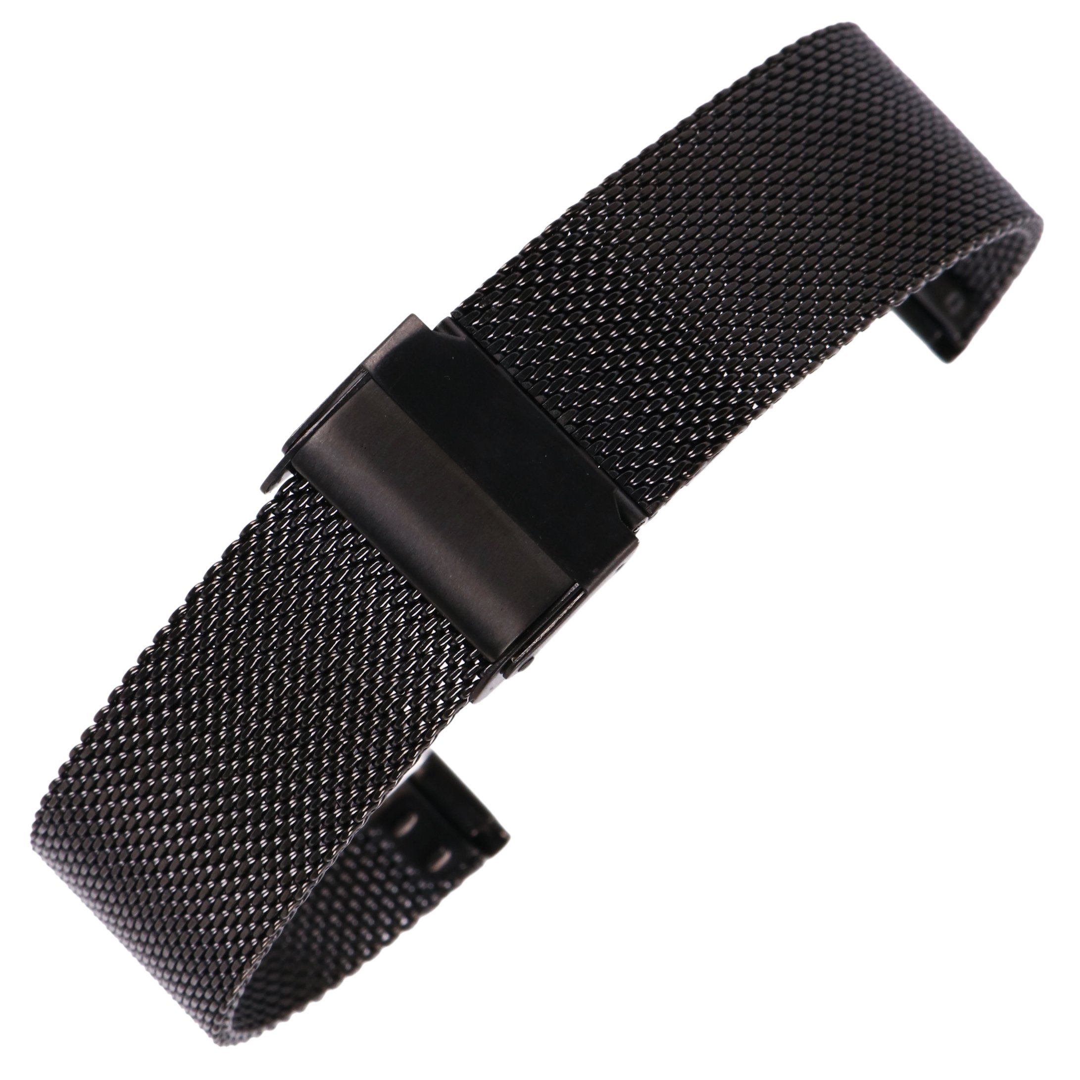 20mm Stainless Steel Mesh Watch Band Black Chainmail Mesh Strap Replacement for Business Sport Watches
