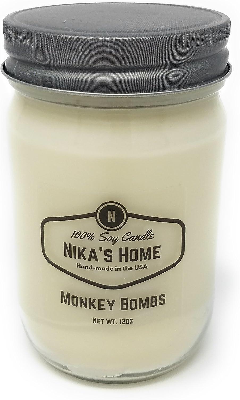 Nika's Home Monkey Bombs Soy Candle - 12oz Mason Jar
