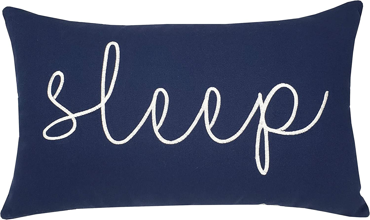"EURASIA DECOR DecorHouzz Sleep Sentiment Embroidered Pillow Cover Cushion Cover Pillow Cases Throw Pillow Decorative Pillow Wedding Birthday 12""x20"" (Navy)"