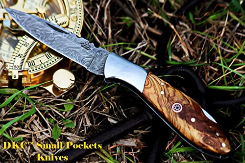 DKC Knives DKC-58-LJ-OW Little Jay Damascus Folding Pocket Knife Olive Wood Handle 4 Folded 7 Long 4.7oz oz High Class Looks Feels Great in Your Hand and Pocket Hand Made LJ-Series