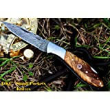 "DKC-58-LJ-OW LITTLE JAY Damascus Folding Pocket Knife Olive Wood Handle 4"" Folded 7"" Long 4.7oz oz High Class Looks Feels Great In Your Hand And Pocket Hand Made DKC Knives LJ-Series"
