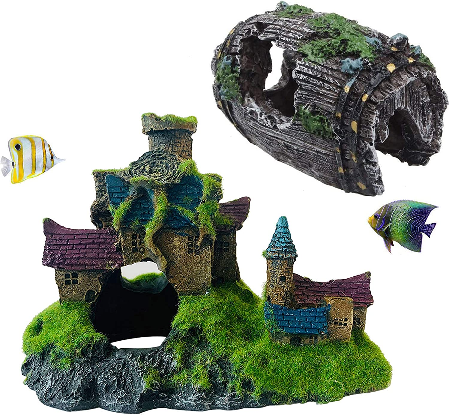Hamiledyi Aquarium Ornament Castle Resin Broken Barrel Fish Hideout Betta Cave Fish Tank Decorations Handicrafts with Holes and Mossy for Underwater Environment, Gardens Pack of 2