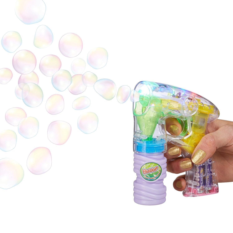 Relaxdays Seifenblasen-Pistole mit Seifenblasenlösung, inkl. Batterien, LED-Licht, handlich, für Party, Karneval, Fasching, HBT: 14,5 x 11,5 x 5 cm, transparent für Party 10020603