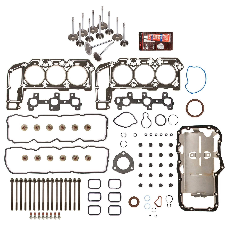 Full Gasket Set Intake Exhaust Valves Fit 02-05 Dodge Chrysler Jeep 3.7L SOHC