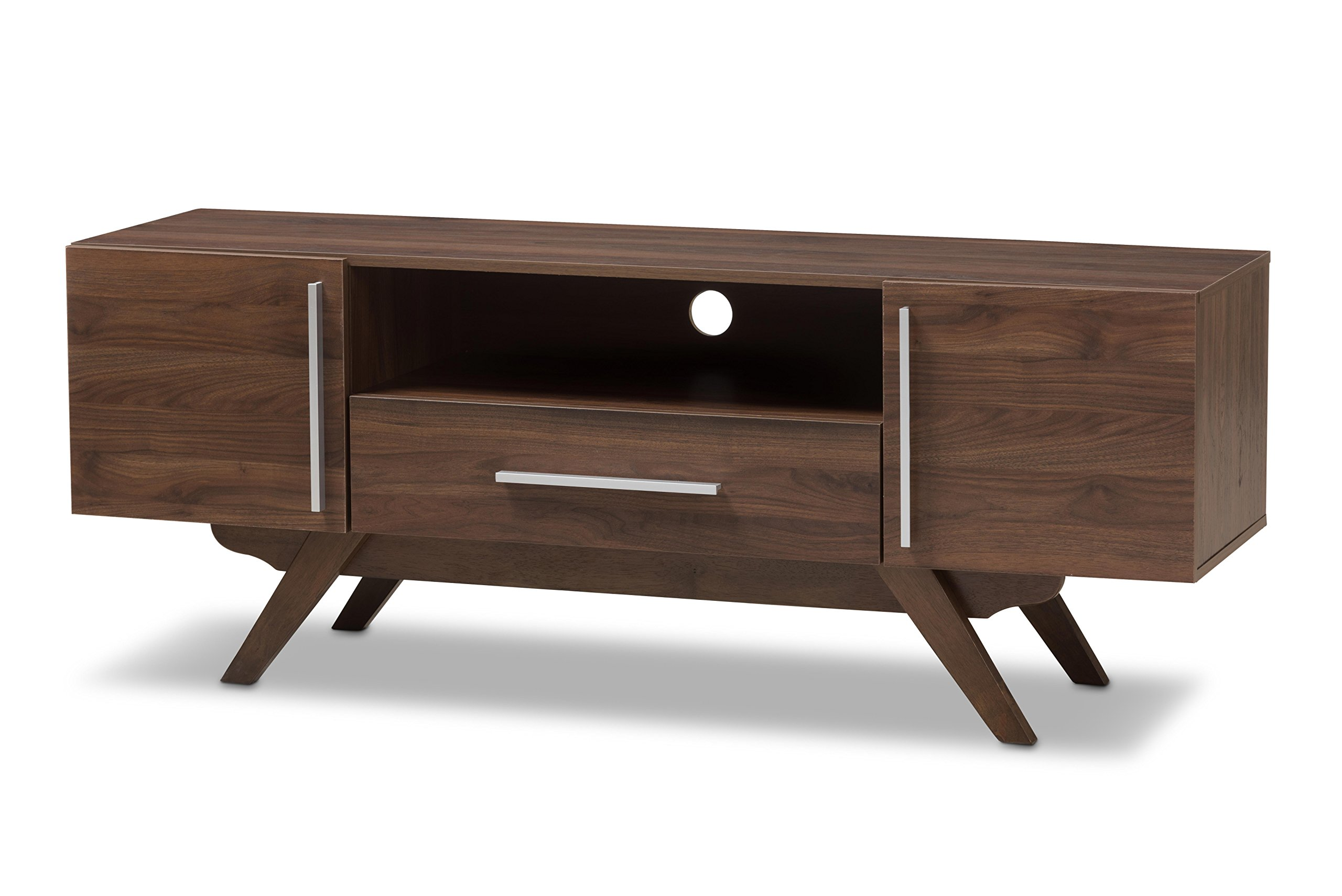 Baxton Studio Aulden Mid-Century Modern Walnut Brown Finished Wood TV Stand by Baxton Studio