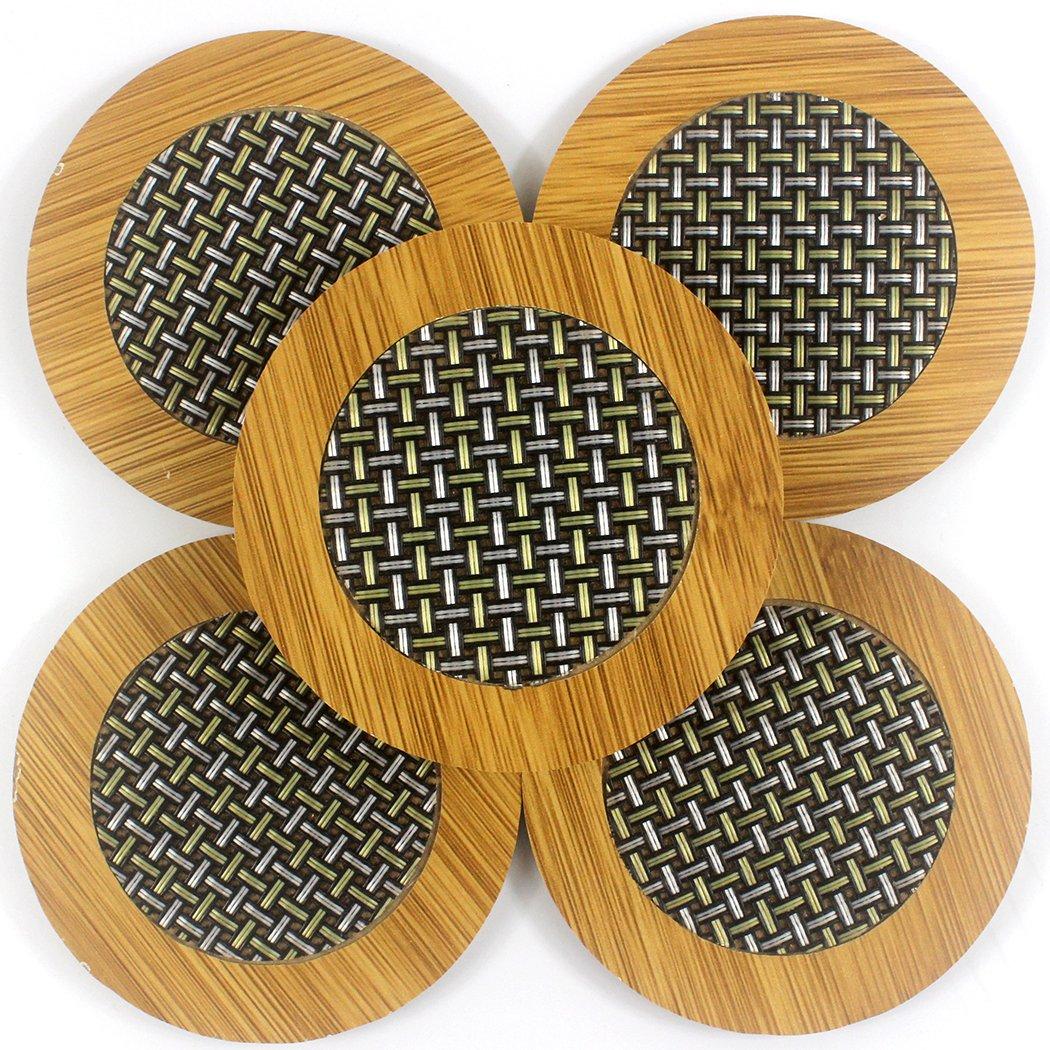 Zoohot Heat-resistant Carbonized Bamboo and Fiber Stitching Round Coaster,Set of 8