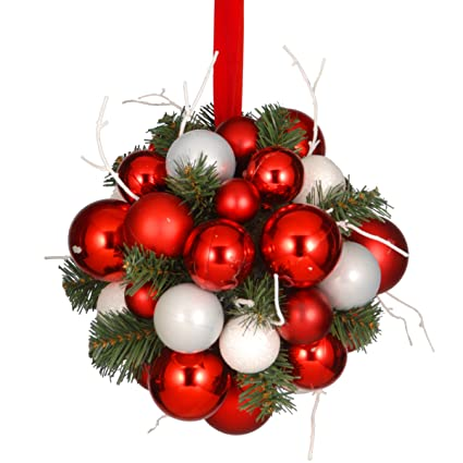 National Tree 10 Inch Kissing Ball with Red and Silver Ornaments (RAC-15108KB10)