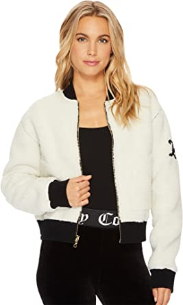 93d97cd3bfc0 Juicy Couture Women s Sherpa Reversible Jacket Natural Sherpa Pitch Black  Large