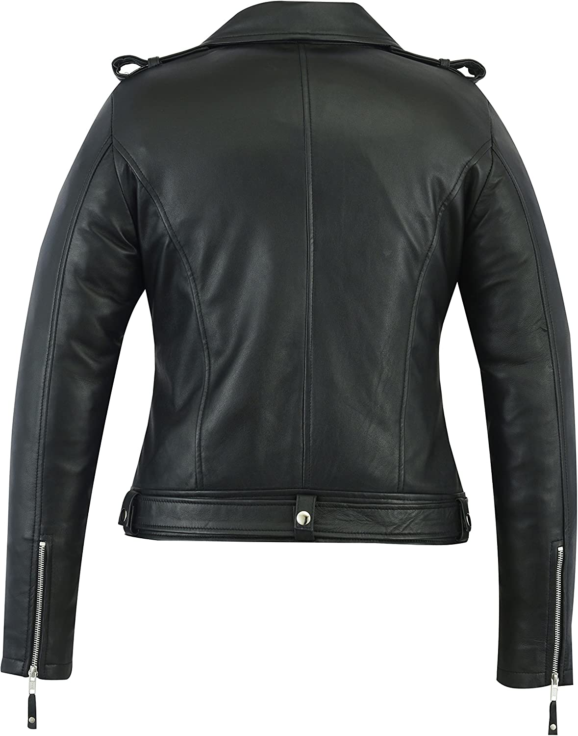 A/&H Apparel Women Motorcycle Genuine Sheep Lightweight Leather Jacket Casual