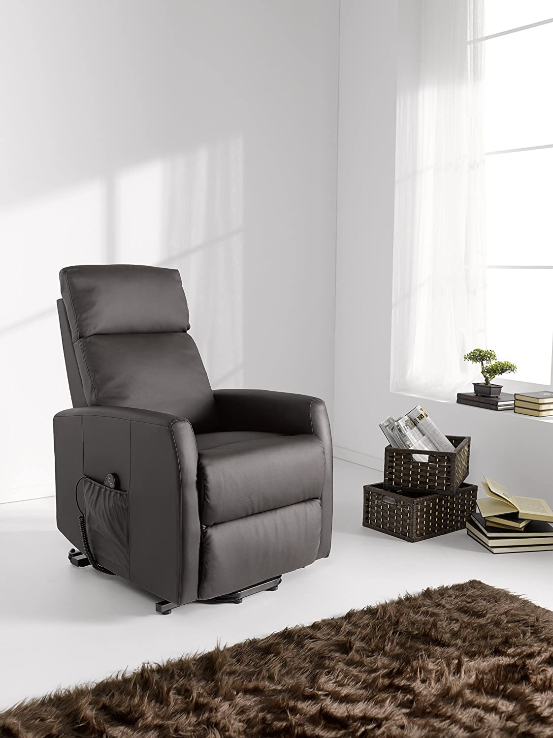Sillon relax sistema puesta en pie powerlift , color marron ...