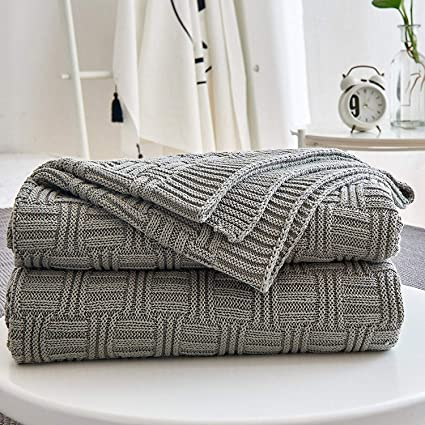 511b627b6 Amazon.com: Cotton Cable Gray Knit Throw Blanket for Couch Chairs Bed Beach  , Home Decorative Grey Blanket , 50 x 60 Inch Gift a Washing Bag: Home &  Kitchen