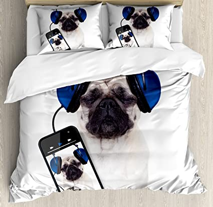 Amazoncom Ambesonne Pug Duvet Cover Set Queen Size Dog Listening