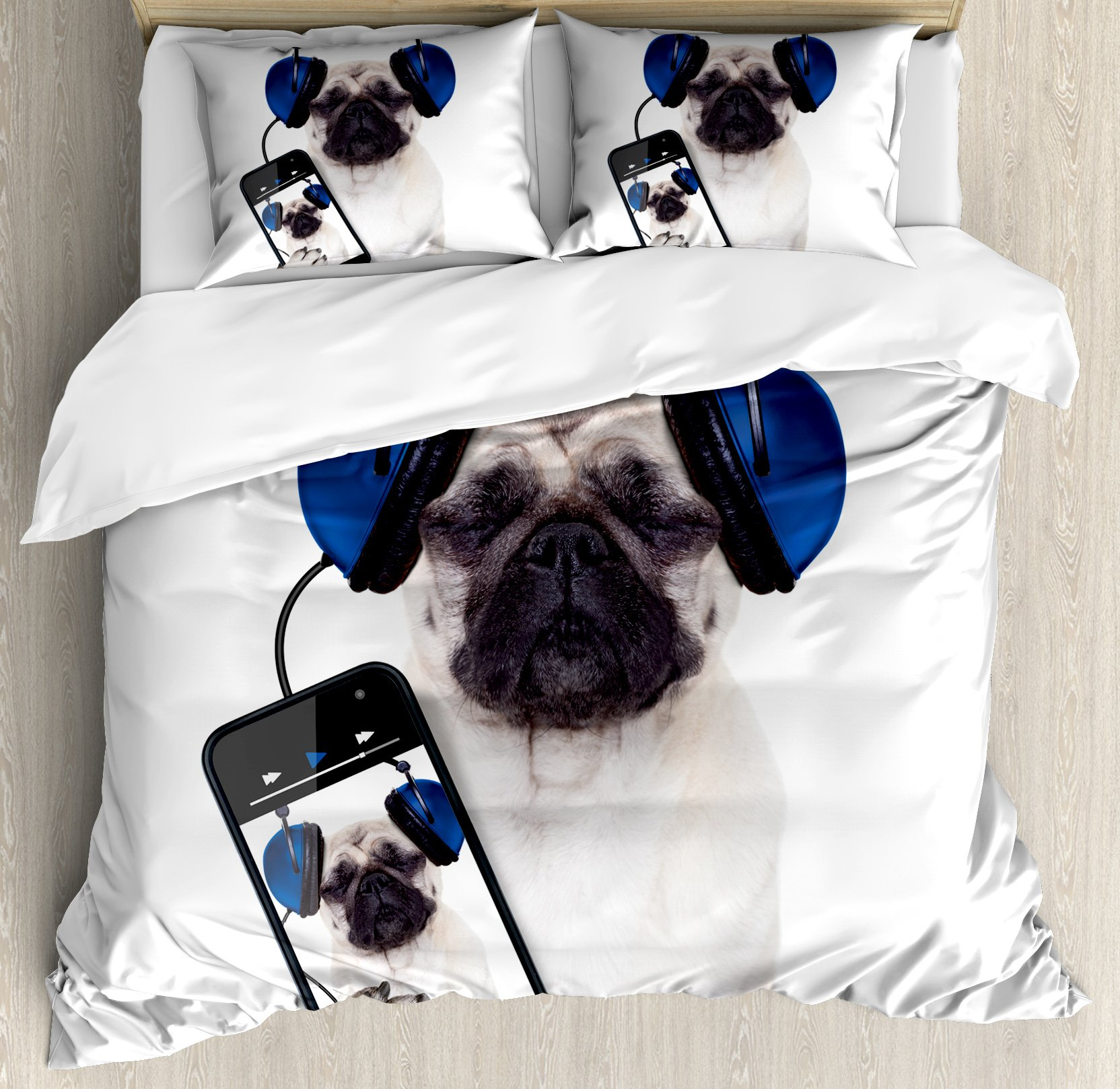 Pug Duvet Cover Set Queen Size by Ambesonne, Dog Listening Music on the Smartphone Groovy Cool Headphones Animal Funny Image, Decorative 3 Piece Bedding Set with 2 Pillow Shams, Navy Blue Black