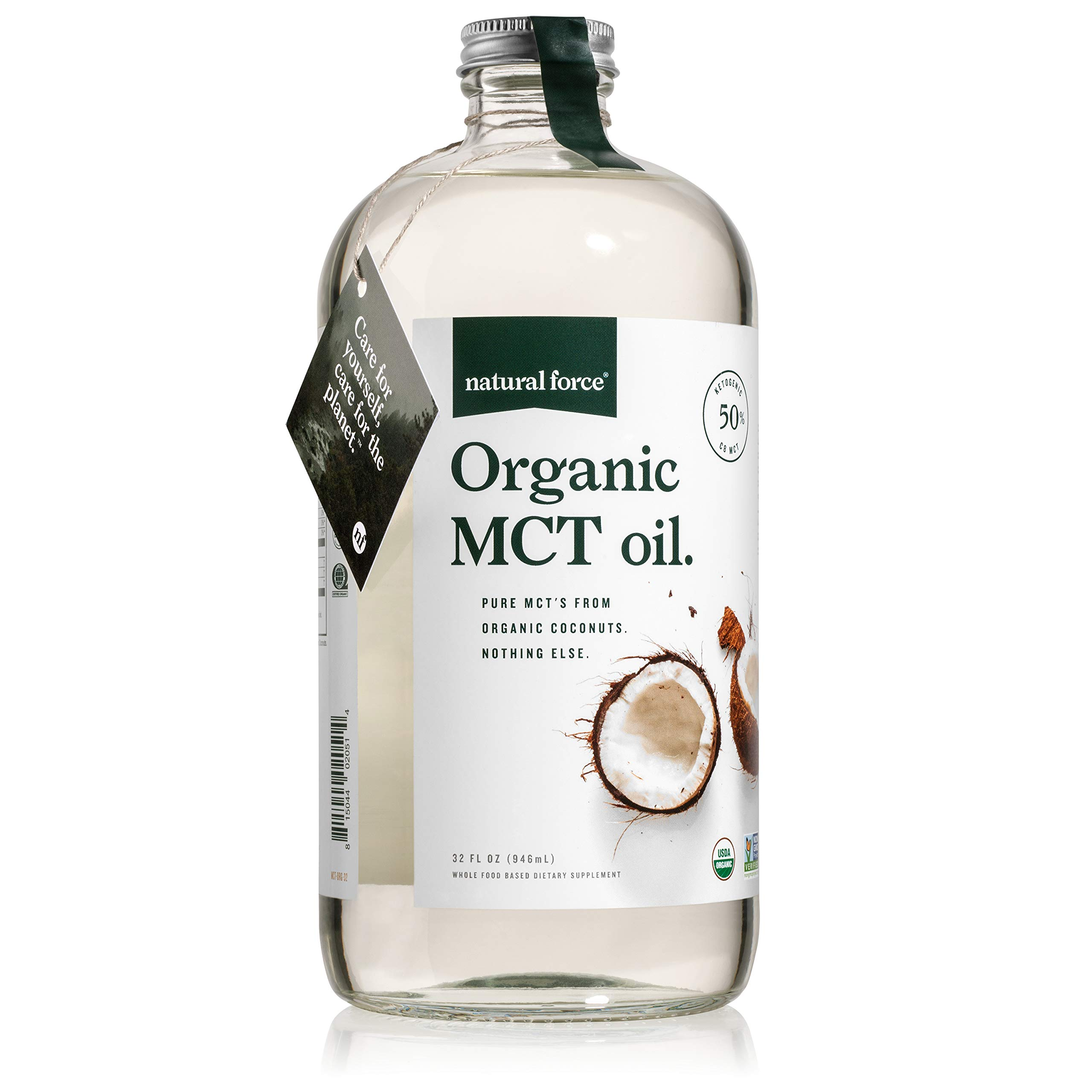 USDA Organic MCT Oil in 32 Oz Glass Bottle, Best for Keto Diet Recipes - Full Spectrum C8 C10 C12 Pure Coconut MCTs - Premium Quality & Non-GMO *Sustainable Packaging* by Natural Force, 32 Ounce