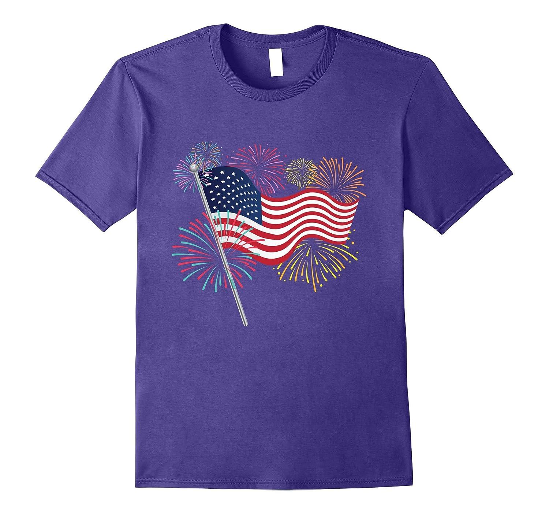 American Flag Fireworks Patriotic T shirt-PL